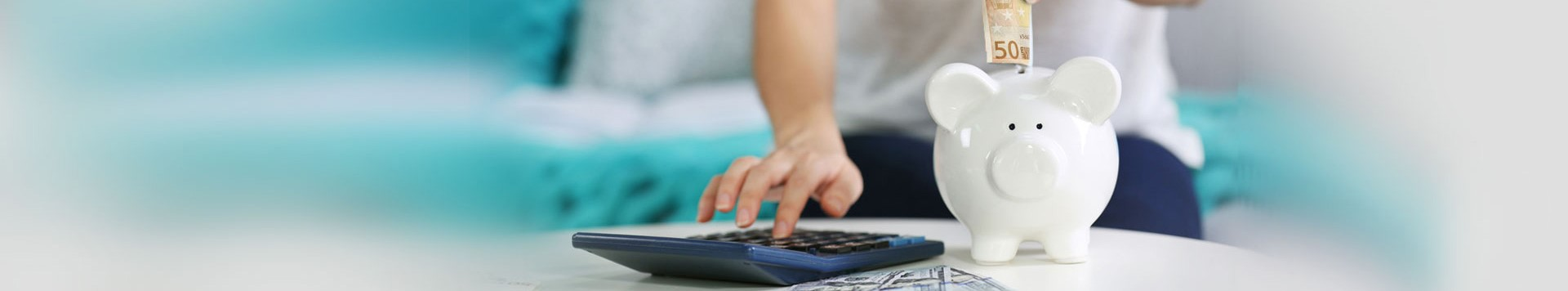 Employee benefits with money and piggy bank